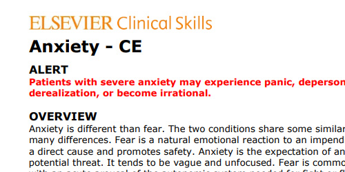 anxiety ce